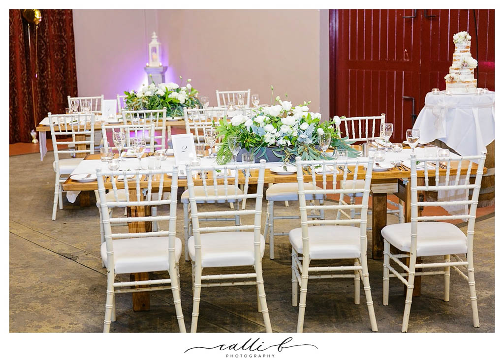 rustic reception flowers featuring roses