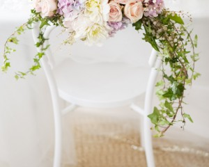 Bentwood chair floral garland Image by Karen Buckle Photography
