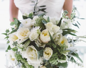 rustic wedding bouquet with double tulips