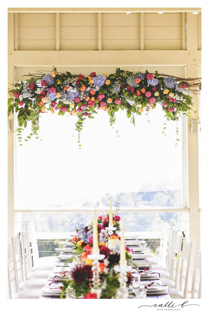 Bright hanging strucutre featuring roses