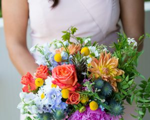 Bright wedding flowers including dahlias