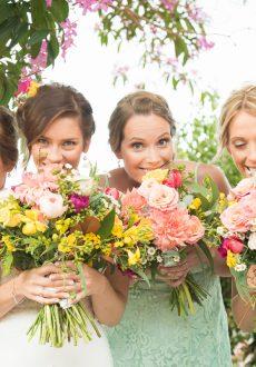 Bright gardenesque wedding bouquets