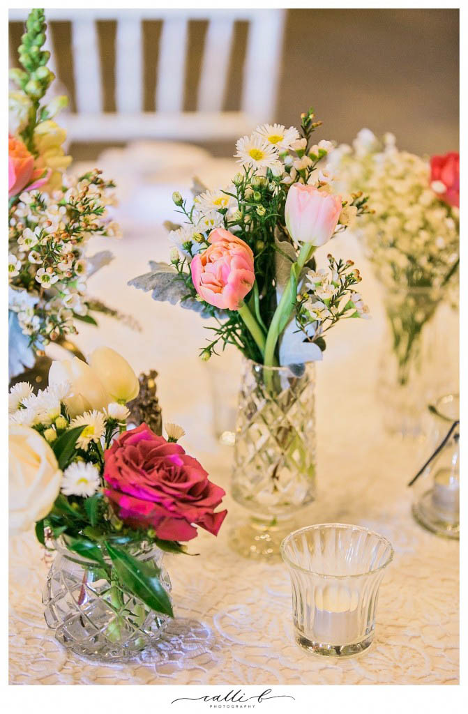 crystal vases with tulips