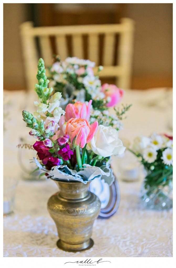 brass centrepiece vases with tulips