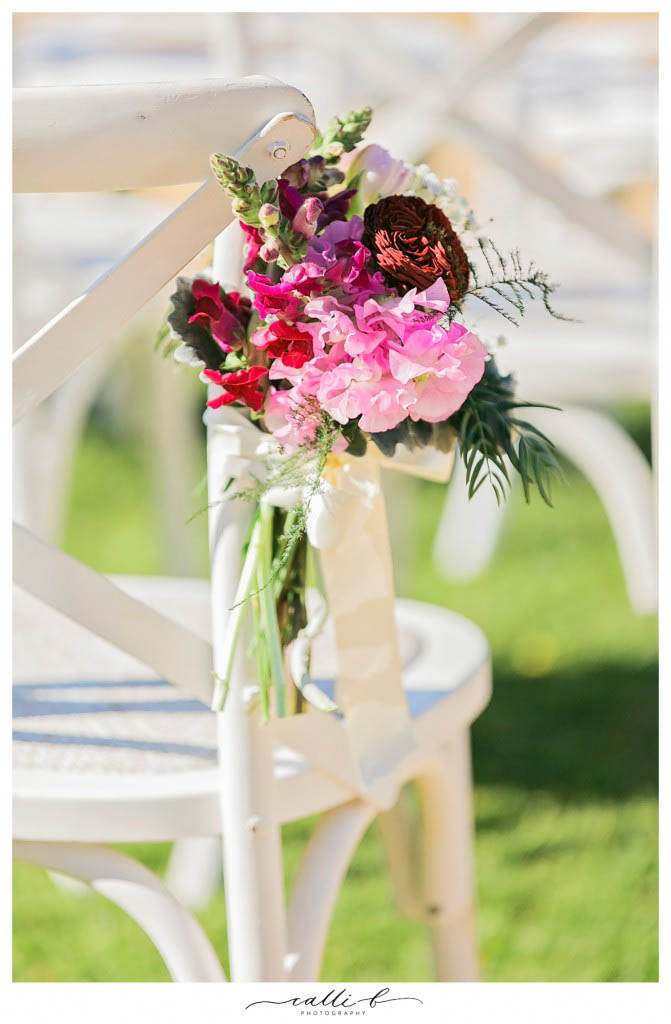 Chair posies with sweet pea