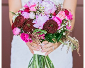 Bright wedding bouquet with peonies