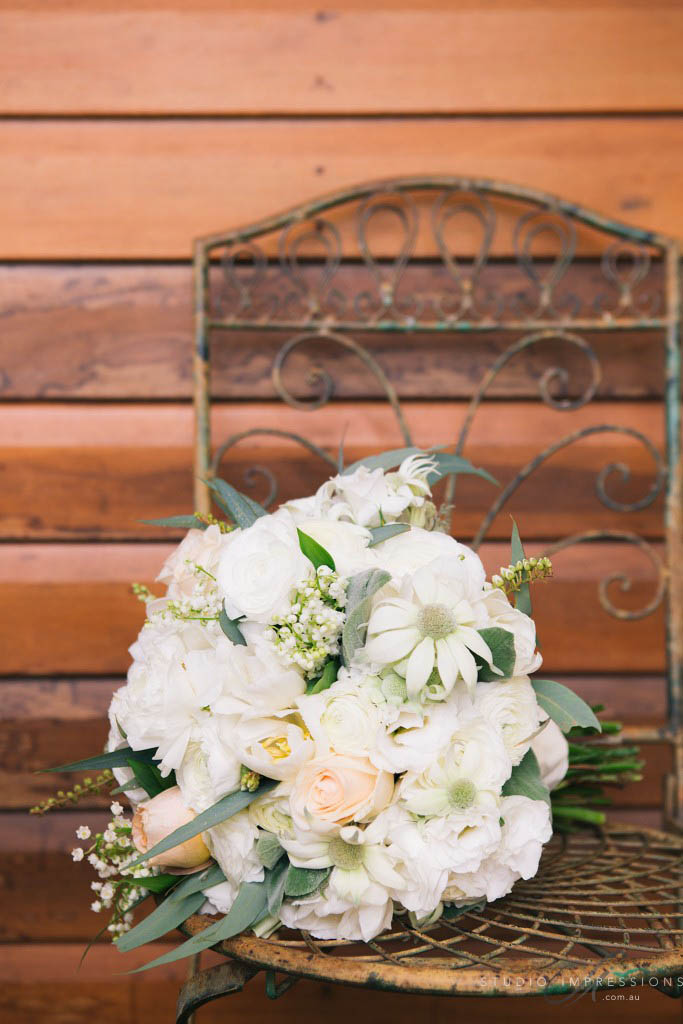 Rustic posy bouquet with flannel flower