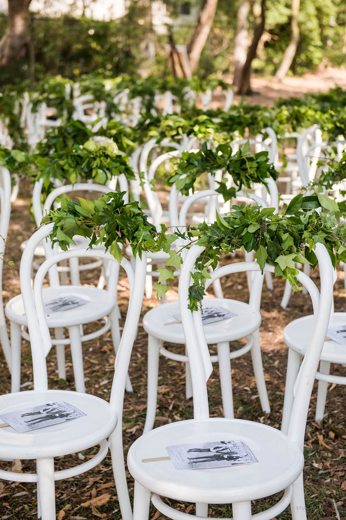 Wedding ceremony chair - Noosa Wedding Flowers Chair Garland