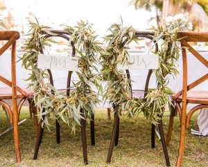 Rustic chair back garlands