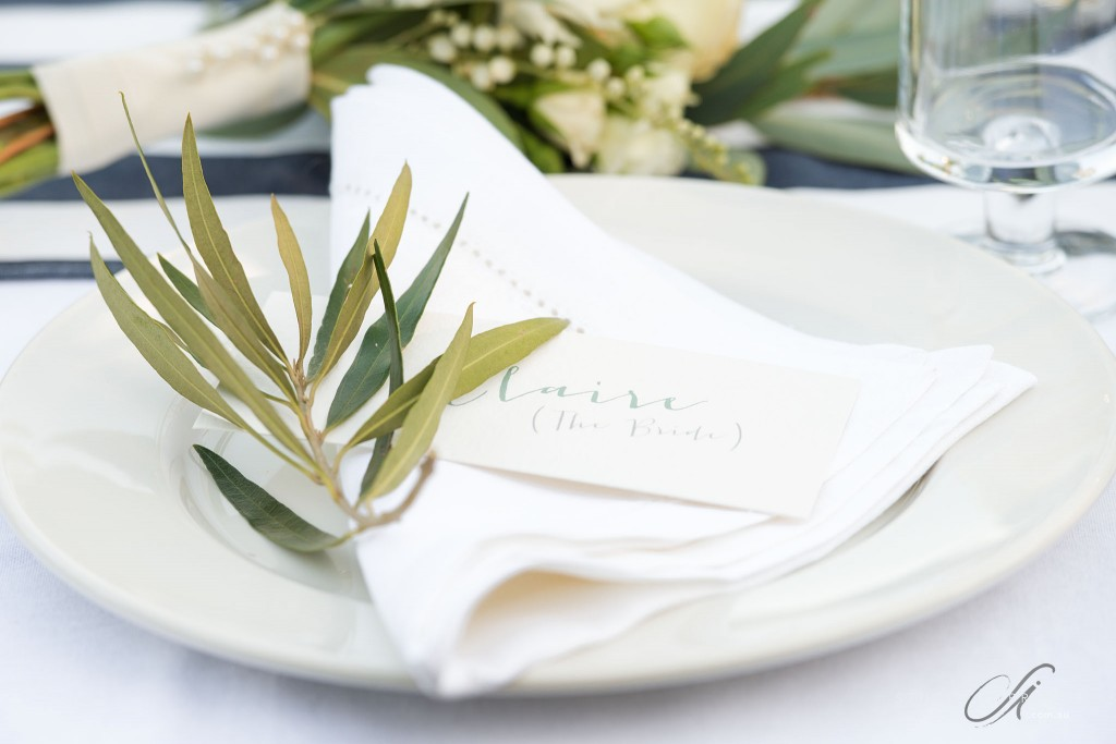 Olive branch napkin places