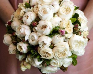Bouquet of ivory David Austin roses - Image by Calli B Photography