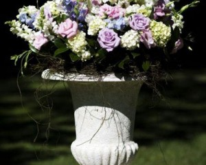 Large pedestal design of roses, delphinium, lisianthus and hydrangea with dodder vine feature - Image by Calli B Photography