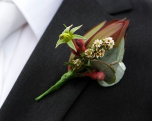 Buttonhole featuring native blooms and gum