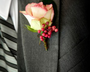 TWK Studios – Cezanne Rose Buttonhole with pink Pepperberry