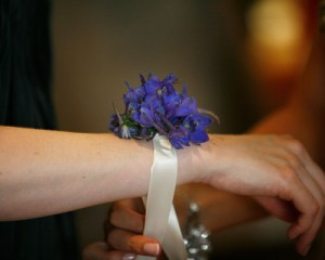 Bella Designs and Imagery – Wrist corsage of dark blue Delphinium with ribbon