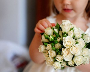 Petite posy of ivory Miniature Roses
