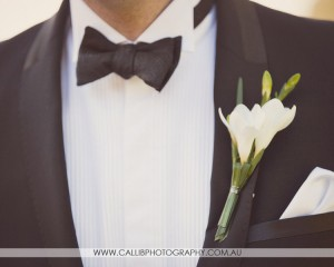 White freesia buttonhole