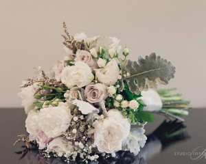 Vintage bouquet featuring Antique roses, double tulips, David Austin roses,