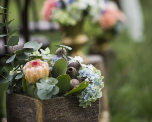 Timber box aisle floral feature