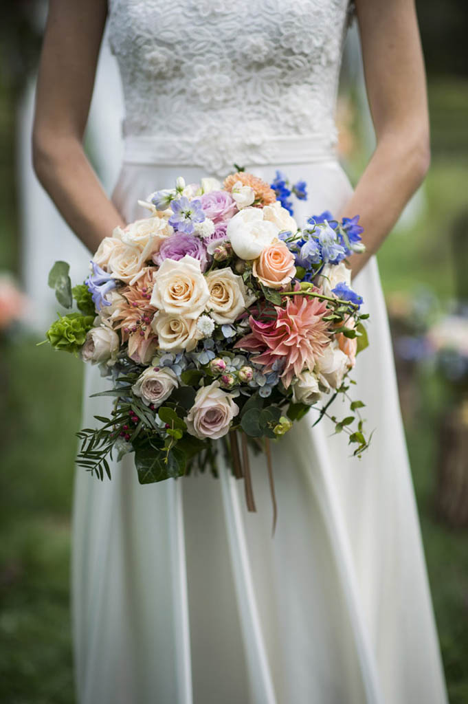 Gardenesque bridal bouquet with dahlias